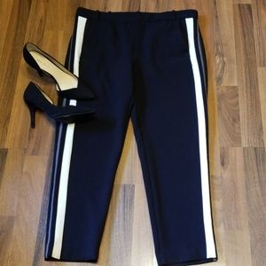 {Zara} Cropped Black Pants with Side Stripes